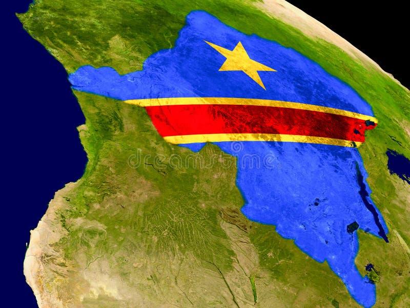El República del Congo Democratic con la bandera en la tierra libre illustration