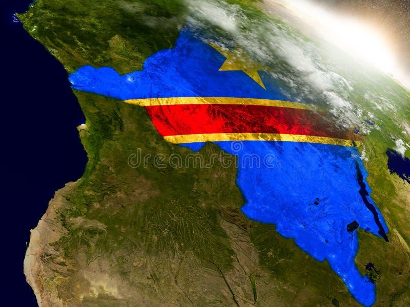 El República del Congo Democratic con la bandera en sol naciente ilustración del vector
