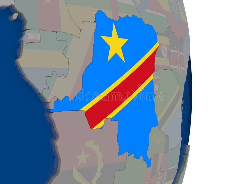El República del Congo Democratic con su bandera stock de ilustración