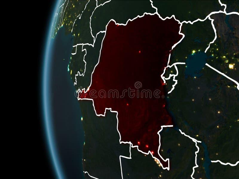 El República del Congo Democratic del espacio en la noche fotografía de archivo
