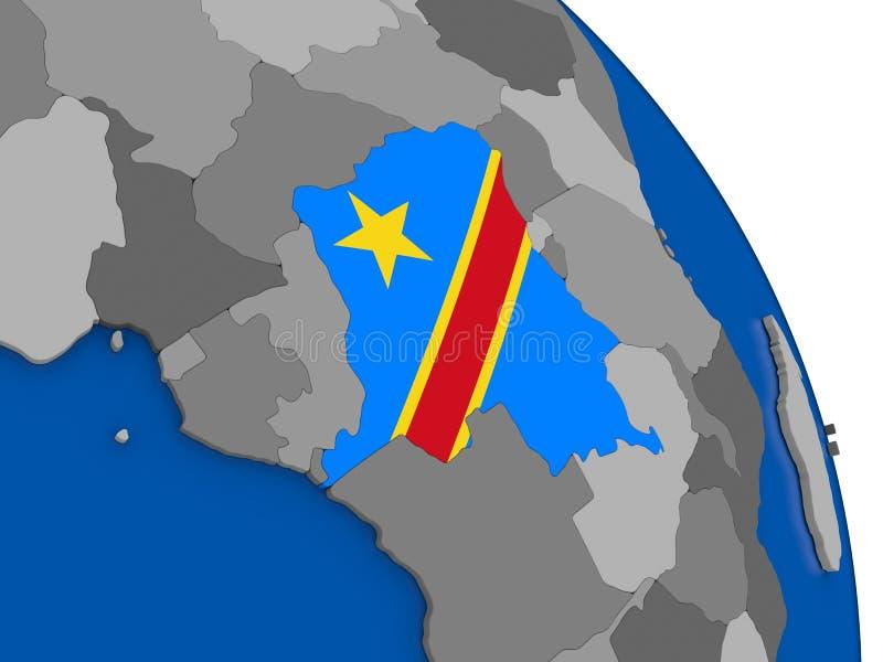 El República del Congo Democratic y su bandera en el globo libre illustration