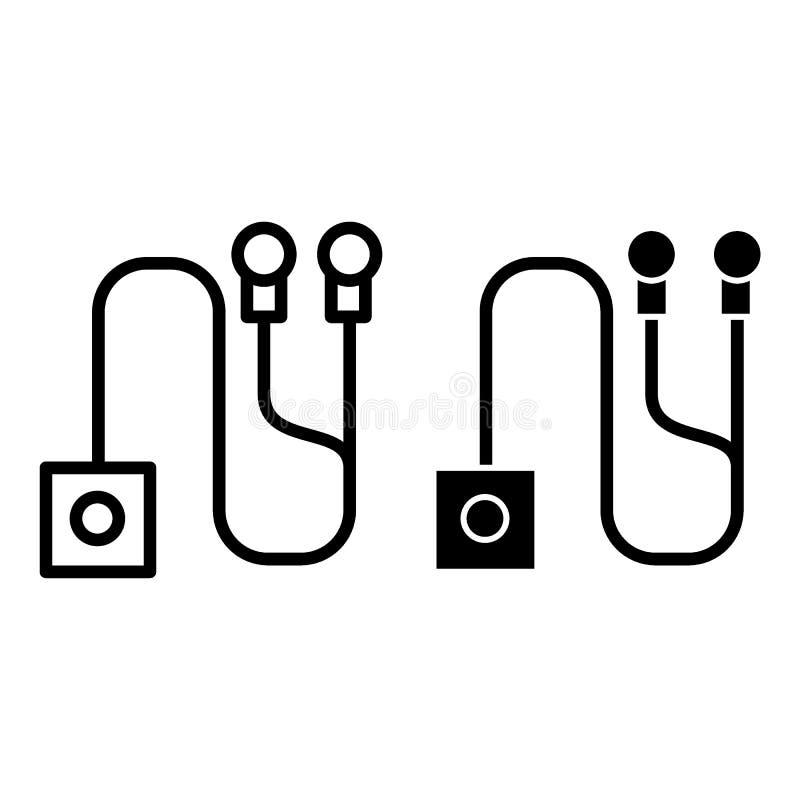El reproductor Mp3 con los auriculares alinea y el icono del glyph Ejemplo audio del vector aislado en blanco Diseño del estilo d ilustración del vector