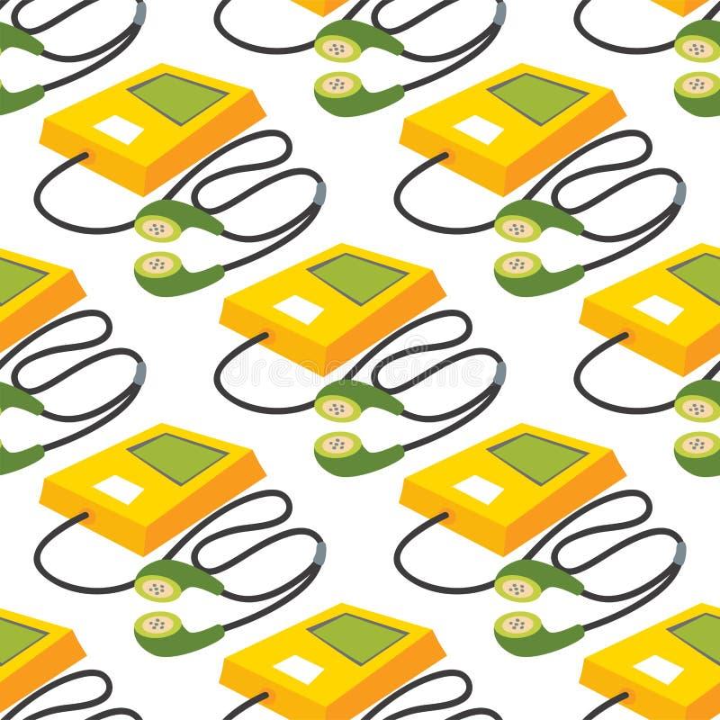 El reproductor Mp3 de la música con los auriculares amarillea vector inconsútil sano digital del fondo del modelo del dispositivo stock de ilustración