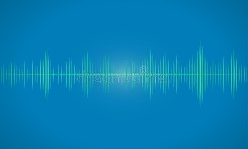El resplandor oscilante de las ondas acústicas se enciende, backgrou abstracto de la tecnología stock de ilustración