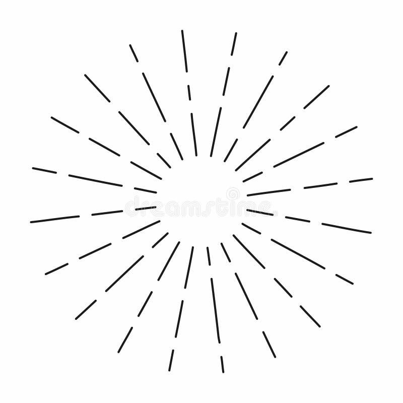 El resplandor solar del vintage en las líneas forma, parte radial linear estalló el sol retro para la cría del inconformista stock de ilustración