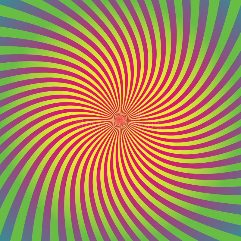 El resplandor solar, sistema del fondo del starburst, rayos coloridos, haces, coloreó la deformación, torsión, giro stock de ilustración