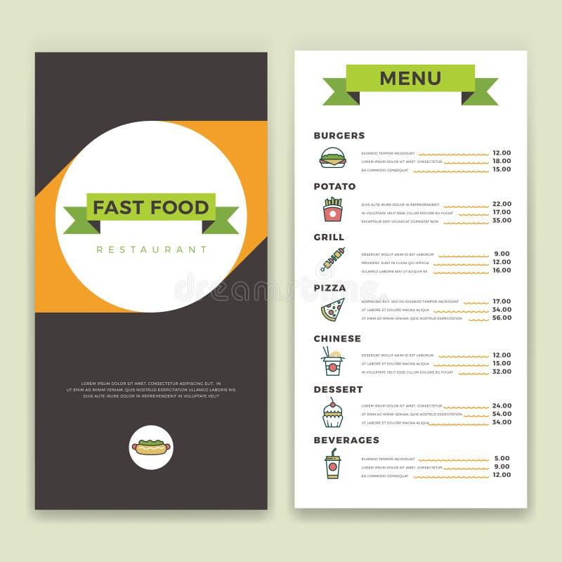El restaurante de los alimentos de preparación rápida y el menú del café vector la plantilla con la línea plana iconos ilustración del vector