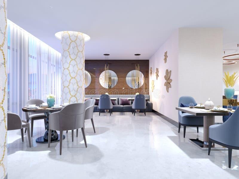 El restaurante lujoso, brillante del hotel con cuatro y dos sillas y tablas se sirve Piso y columnas blancos como la nieve en el  stock de ilustración