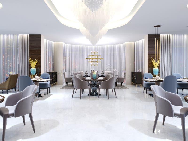 El restaurante lujoso, brillante del hotel con cuatro y dos sillas y tablas se sirve Piso y columnas blancos como la nieve en el  ilustración del vector