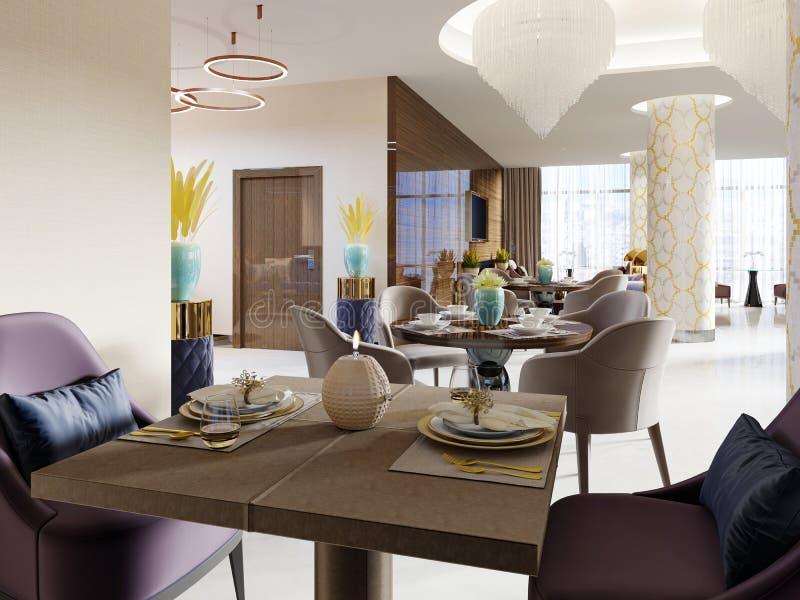 El restaurante lujoso en el hotel tiene un diseño interior moderno, butacas suaves y tablas servidas libre illustration