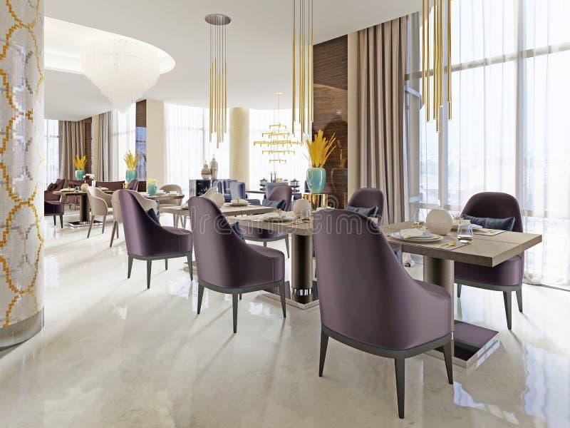 El restaurante lujoso en el hotel tiene un diseño interior moderno, butacas suaves y tablas servidas stock de ilustración