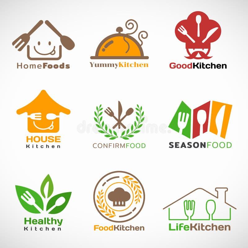 El restaurante y el logotipo casero de la cocina vector diseño determinado stock de ilustración