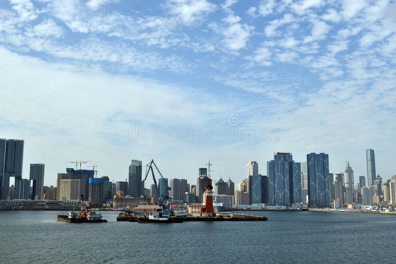 El resultado del desarrollo expansivo en China Él ciudad del ` s Dalian, fotografía de archivo libre de regalías