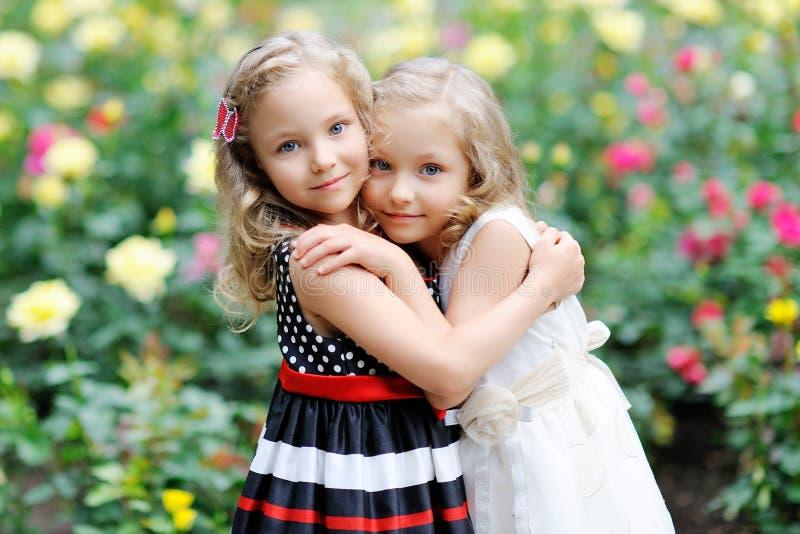 Retrato de dos gemelos de las hermanas imagen de archivo libre de regalías