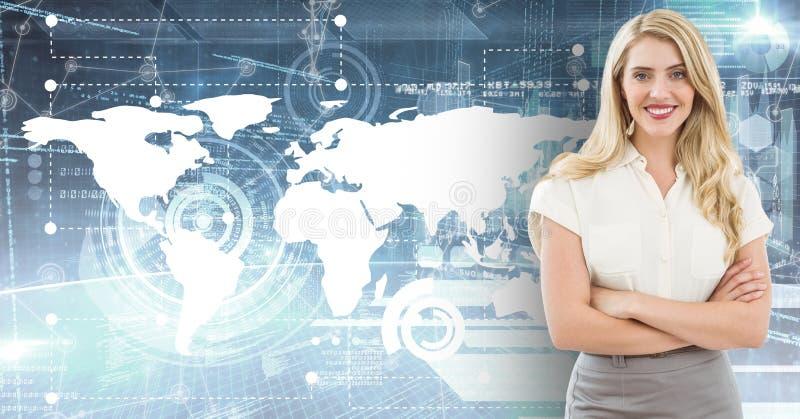 El retrato de la empresaria sonriente que se colocaba con los brazos cruzó contra fondo del mapa ilustración del vector