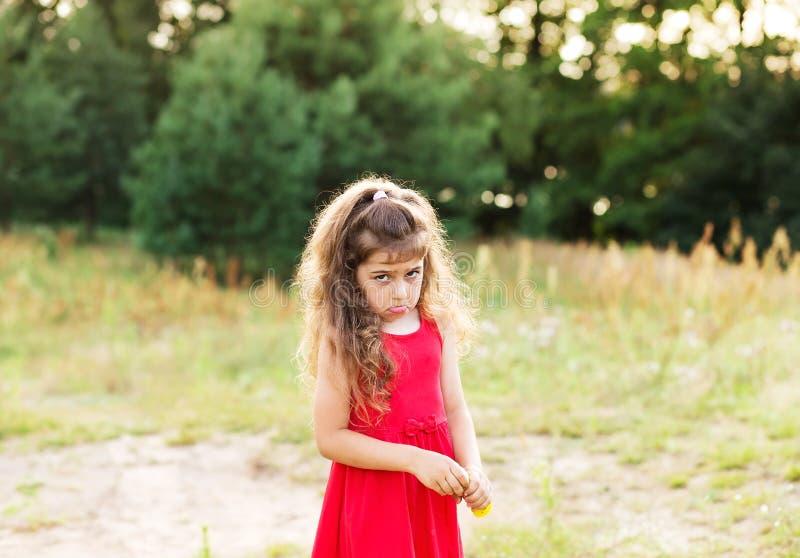 El retrato de la mirada triste linda de la niña se preocupó en el día de verano fotografía de archivo libre de regalías