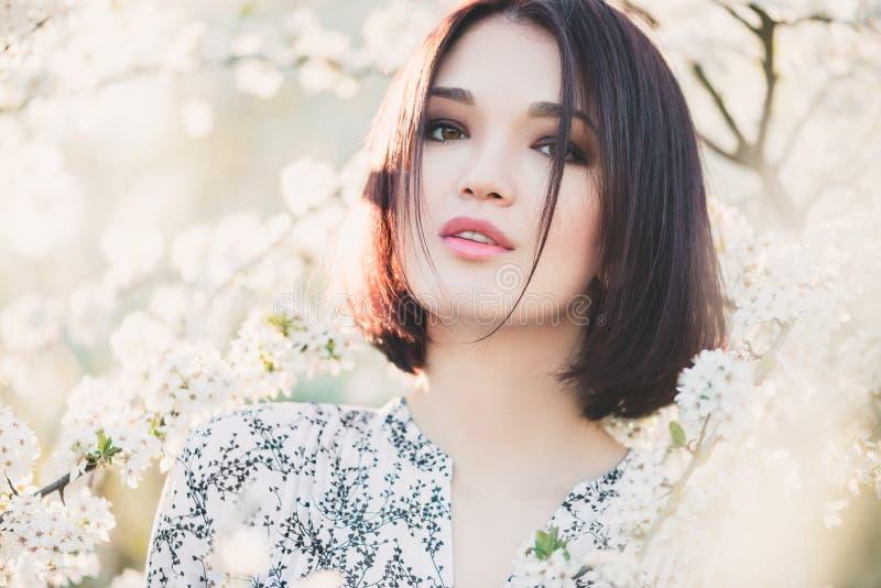 El retrato de la muchacha asiática hermosa entre la cereza Sakura florece imagen de archivo libre de regalías