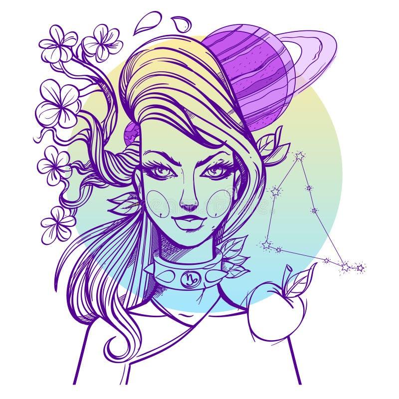 El retrato de la muchacha simboliza al Capricornio de la muestra del zodiaco ilustración del vector
