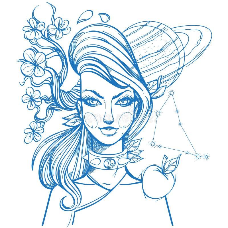 El retrato de la muchacha simboliza al Capricornio de la muestra del zodiaco Dibujo de esquema para colorear stock de ilustración