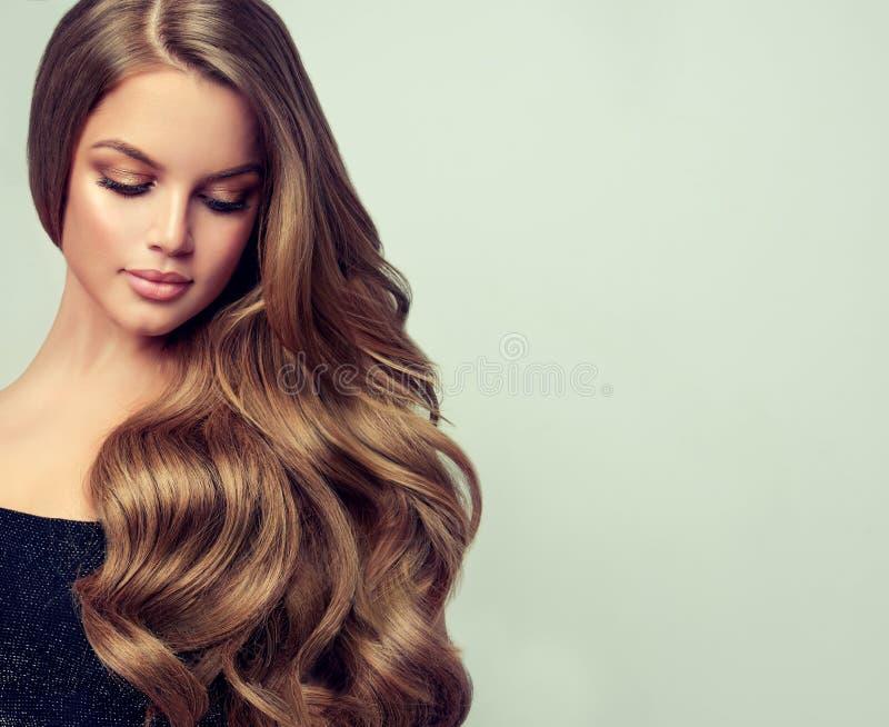 El retrato de la mujer joven magnífica con elegante compone y peinado perfecto fotografía de archivo libre de regalías