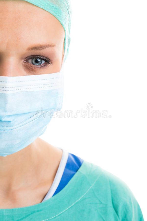 El retrato de un pensativo/triste/agotó el doctor/al cirujano de sexo femenino foto de archivo