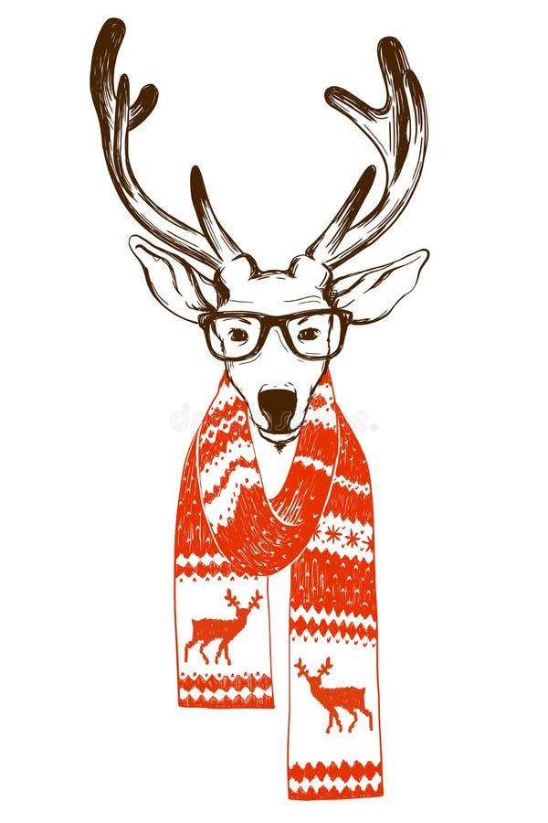 El retrato de un reno de la Navidad se vistió en una bufanda del invierno y vidrios del inconformista ilustración del vector
