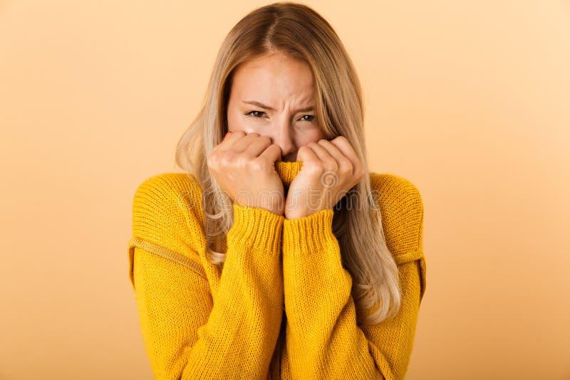 El retrato de una mujer joven asustada se vistió en suéter imágenes de archivo libres de regalías