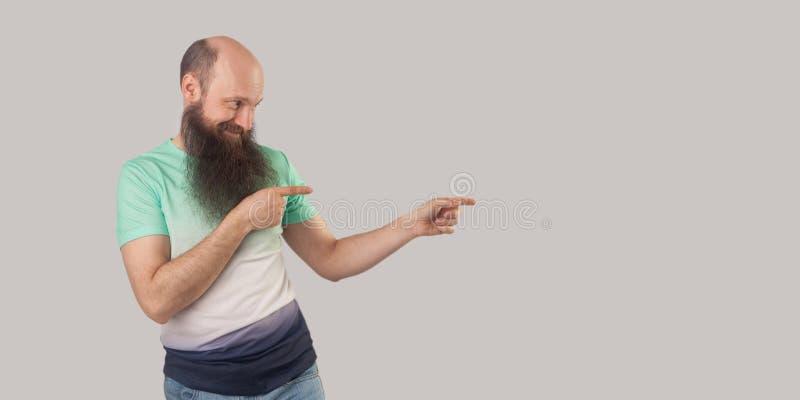 El retrato del centro alegre feliz envejeció al hombre calvo con la barba larga en la situación verde clara de la camiseta, miran imágenes de archivo libres de regalías