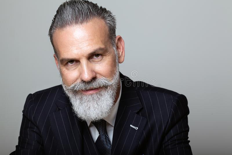El retrato del centro atractivo envejeció al caballero barbudo que llevaba el traje de moda sobre fondo gris vacío Tiro del estud imagen de archivo libre de regalías