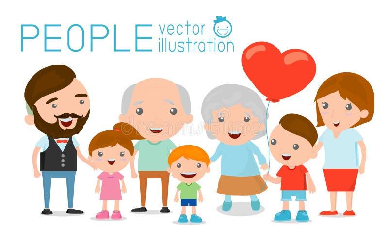 El retrato del grupo de la familia parents abuelos y a niños, ilustración del vector