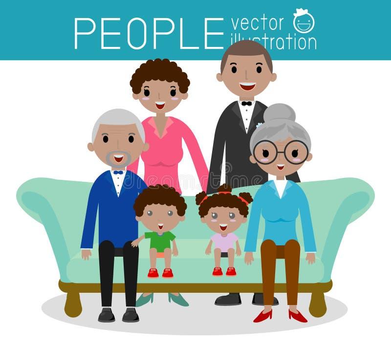 El retrato del grupo de la familia parents abuelos y a niños ilustración del vector