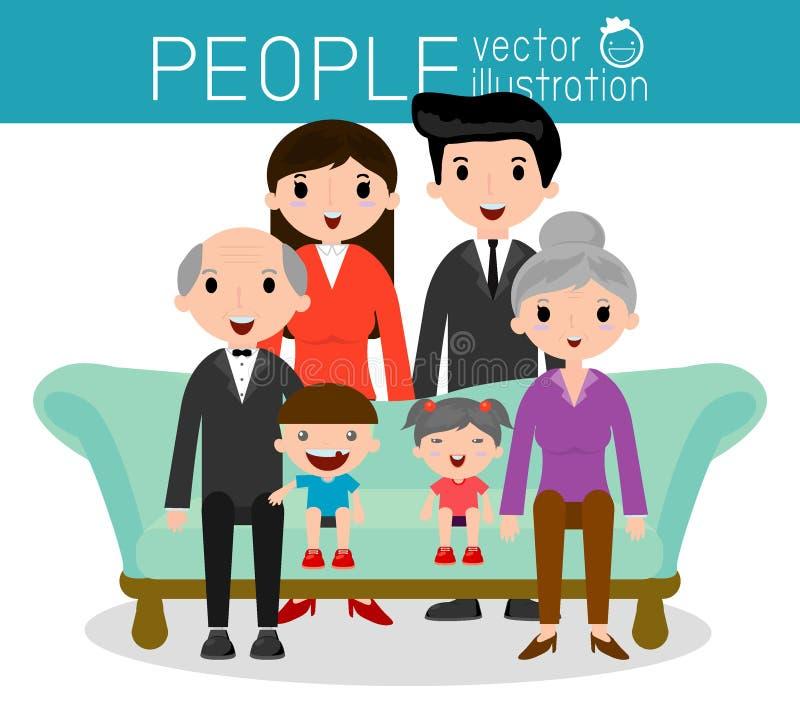 El retrato del grupo de la familia parents abuelos y a niños stock de ilustración