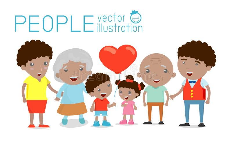 El retrato del grupo de la familia parents los abuelos y a los niños, familia feliz de la historieta, familia afroamericana libre illustration