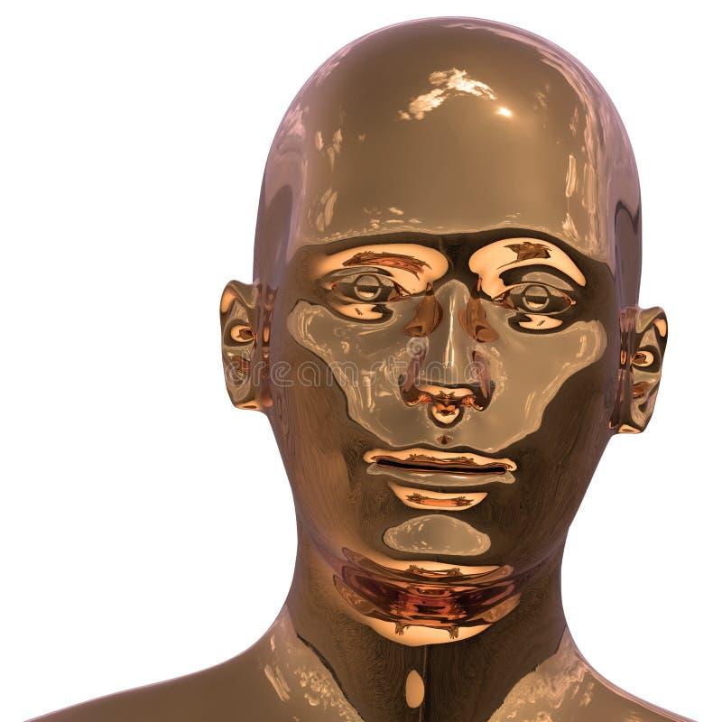 El retrato del hierro de la cara de oro del hombre estilizó Hierro principal del robot Humanoid ilustración del vector
