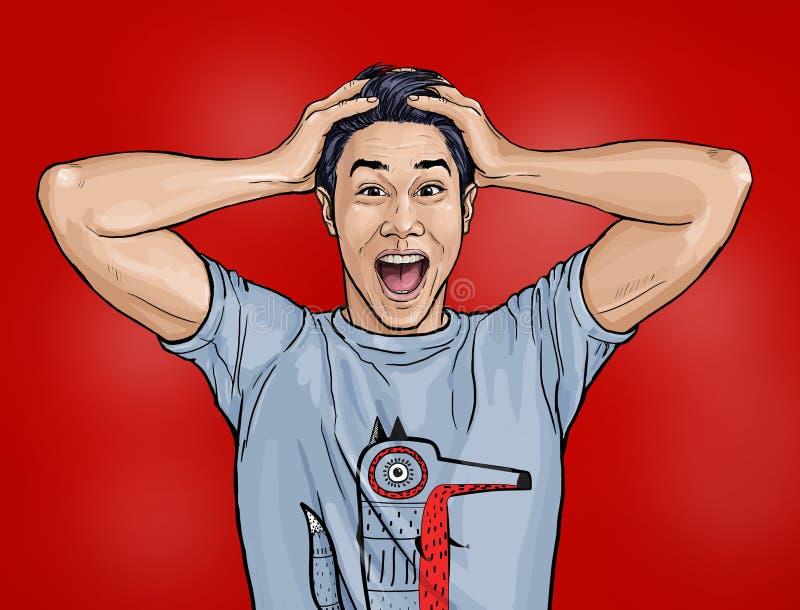 El retrato del hombre asiático sorprendente dice guau con la boca abierta ver algo inesperado Individuo chocado con la expresión  stock de ilustración
