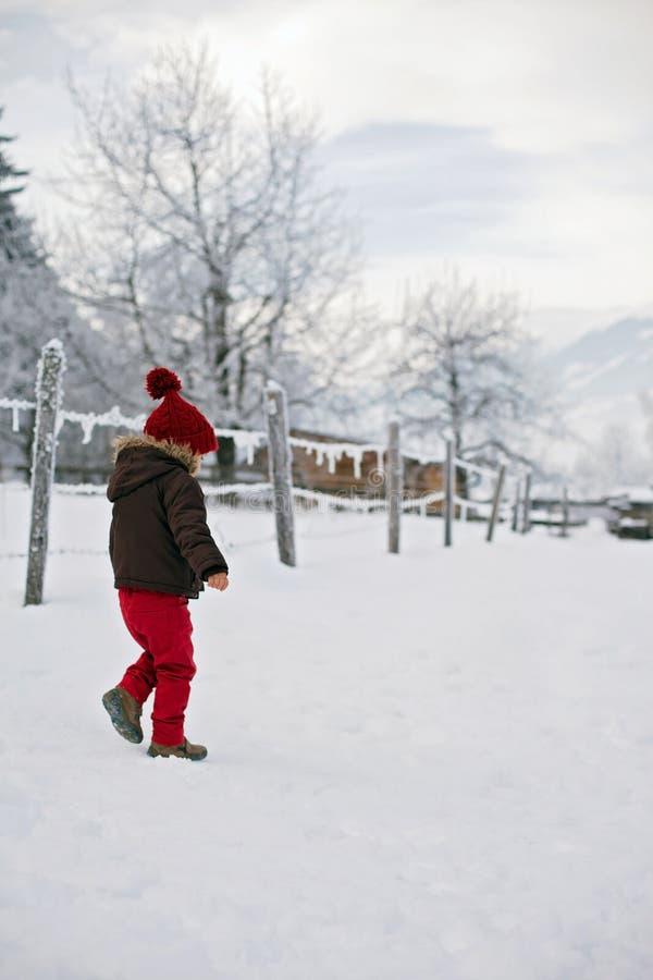 El retrato del niño en chaqueta marrón y rojo hizo punto el sombrero y el tr rojo imagen de archivo libre de regalías