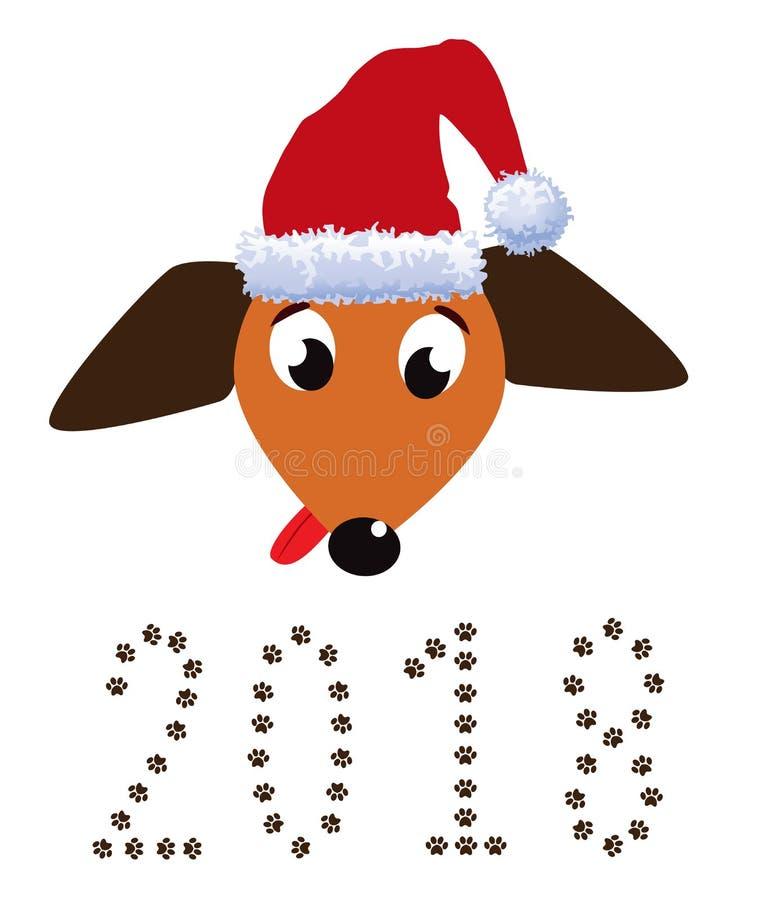 El retrato del perro basset lindo se vistió en sombrero y nume rojos del ` s de santa ilustración del vector