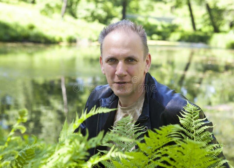 El retrato del verano del hombre maduro a través del helecho se va en un fondo del lago del bosque imágenes de archivo libres de regalías