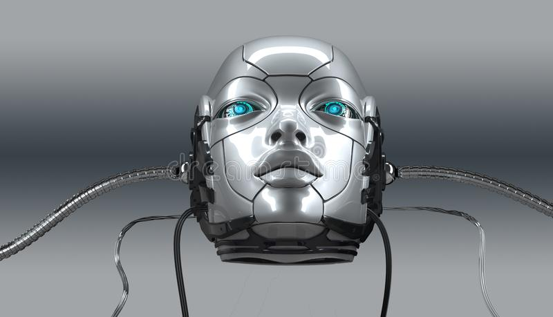 El retrato femenino del primer de la cara del robot, 3d rinde ilustración del vector