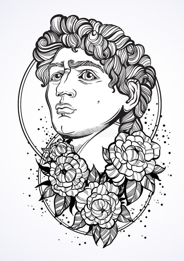 El retrato hermoso a mano de David con la peonía florece alrededor Dioses del griego clásico ¿? ntiquity, mitología, arte del tat ilustración del vector