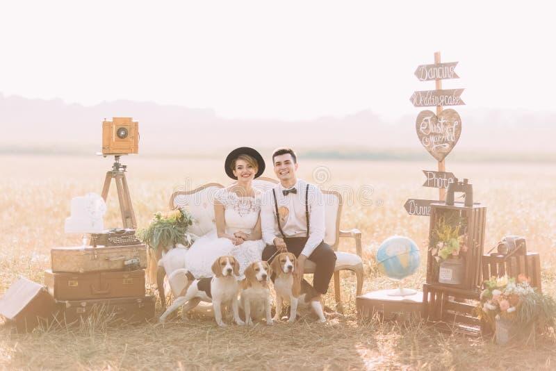 El retrato horizontal precioso de los recienes casados vestidos vintage que se sientan con los perros en el sofá rodeado con imagen de archivo