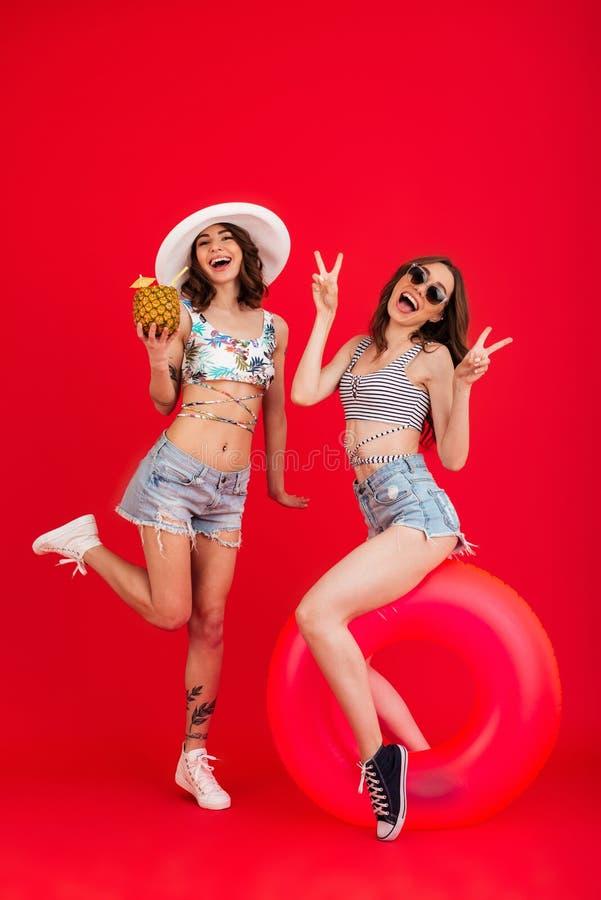 El retrato integral de dos muchachas felices en verano viste fotos de archivo libres de regalías