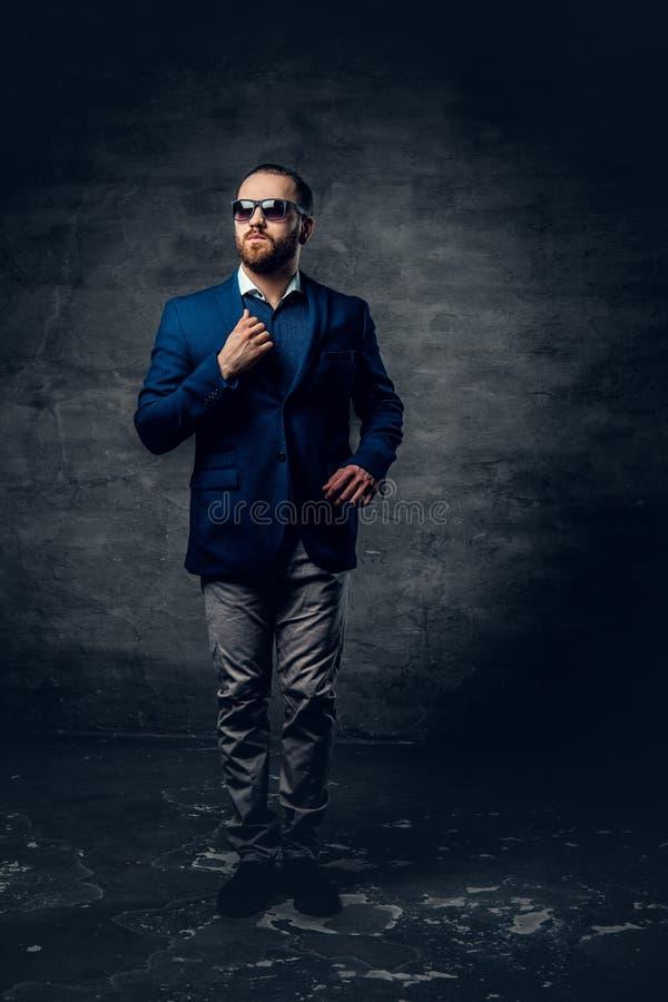 El retrato lleno del estudio del cuerpo del varón barbudo elegante se vistió en un traje y gafas de sol imágenes de archivo libres de regalías