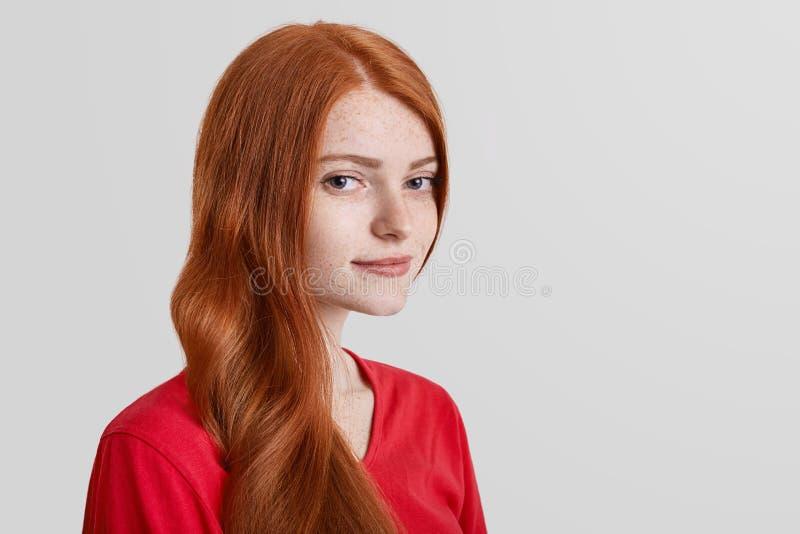 El retrato oblicuo del modelo femenino pelirrojo serio pecoso mira con confianza en cámara, presenta contra el fondo blanco con c fotos de archivo