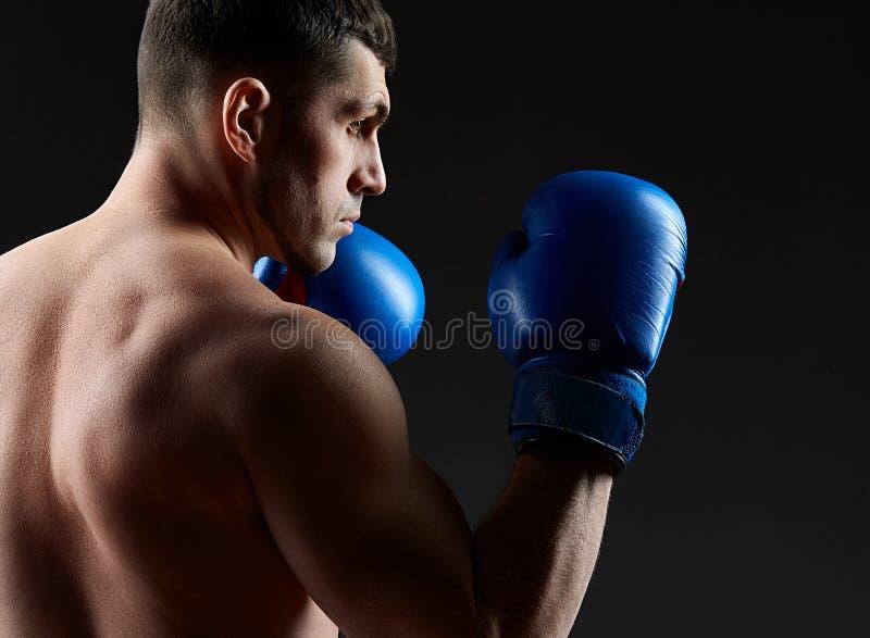 El retrato oscuro del estudio del encajonamiento practicante del combatiente muscular hermoso en oscuridad empañó el fondo foto de archivo