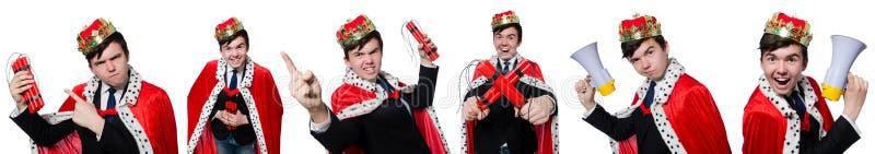 El rey del hombre de negocios con la dinamita aislada en blanco fotos de archivo
