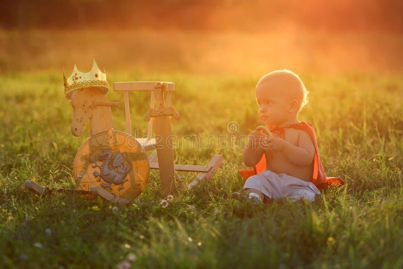 El rey del niño pequeño se sienta en la hierba con los juguetes del caballo El Princ fotos de archivo libres de regalías