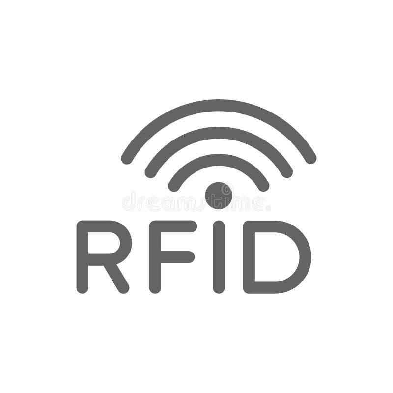 El RFID con las ondas inal?mbricas de radio alinea el icono libre illustration
