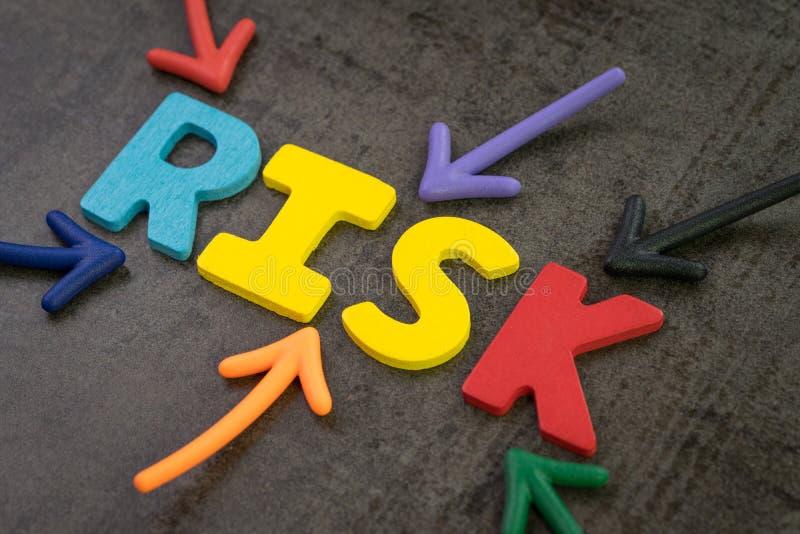 El riesgo del negocio o de inversión, da lugar a la incertidumbre, unpredictabl foto de archivo
