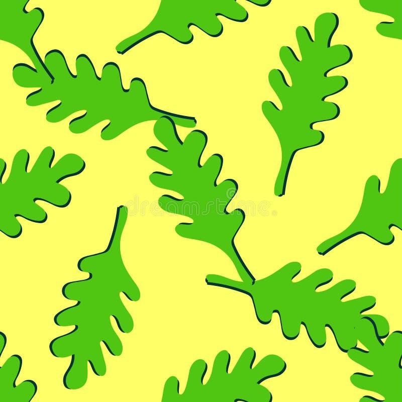 El roble colorido inconsútil sale del modelo Tema de la naturaleza del oto?o Fondo estacional decorativo para los efectos de escr ilustración del vector